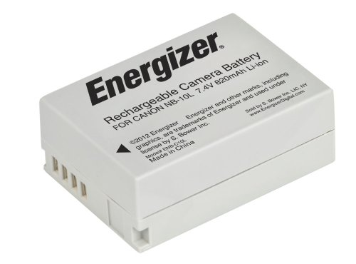 Energizer ENB-C10L Digital Replacement Battery NB-10L for Canon G1X G15 SX-40 and SX-50 (Black)
