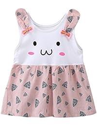 vestidos de niña, ASHOP Vestido sin mangas con estampado de conejo vestidos de princesa Tutu casual vestido de verano Ropa para 0-24…