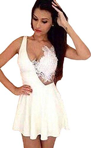 Minetom Damen Kleid V-Ausschnitt Kleider Mini Spitzenkleid Ball Abendkleid Weiß