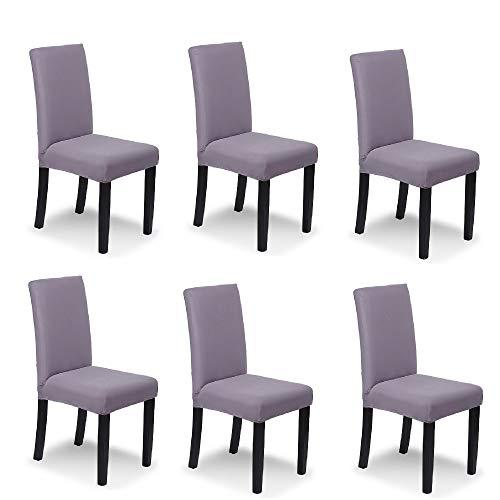 Ebeta 6 x coperture per sedie copertura fodera, elasticizzato copertura della sedia bi-elastico modern decorativo protezione in stretch in tessuto con banda elastica per una misura (grigio viola)