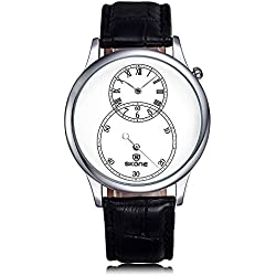 Skone Men Watches Separate Second Dial Roman Number Leather Wristwatches SJ506401