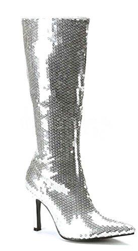 Karneval-Klamotten Disco Stiefel Pailletten Silber Silberne Paillettenstiefel 80er Jahre Karneval Größe 38