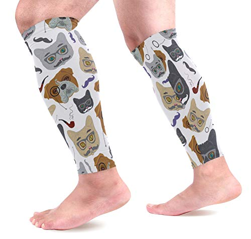 Bgejkos Cats Dogs Head Sports Wadenkompressions-Ärmel Leg Compression Socks Calf Guard for Running, Cycling, Maternity, Travel, Nurses
