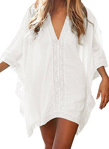 leider, Strandkleid Sommerkleid Bikini Badeanzug Cover Up Kleid Bikini Bademode Vertuschen Strandponcho Sommer Kleidung Strand Pareos (One Size, Weiß) ()