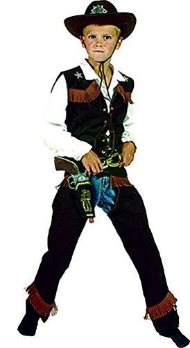 Karnevalsbud - Dunkles Cowboy Kostüm mit Fransen für Kinder, 128-134, 8-9 Jahre, Mehrfarbig