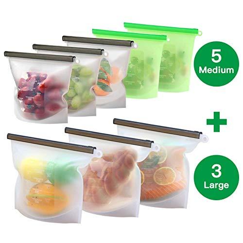 8 Unzen Verlassen (MaLife 8 Packungen Lebensmittel Beutel Koch Beutel Küche Beutel Wiederverwendbare aus Silikon für Obst Gemüse Milch Snacks Fleisch (5 mittelgroße und 3 große))