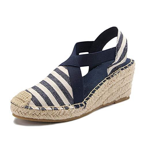 Tomwell Damen Sommer Sandalen Espadrilles Wedge Mode Plateauschuhe Lace Up Platform Mode Casual Römersandalen C Blau 36 EU Lace Up Platform Sandal