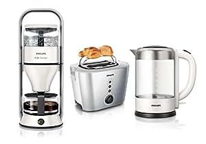 Philips petit-déjeuner 3 pièces gourmet cafetière, bouilloire et grille-pain starwhite serie