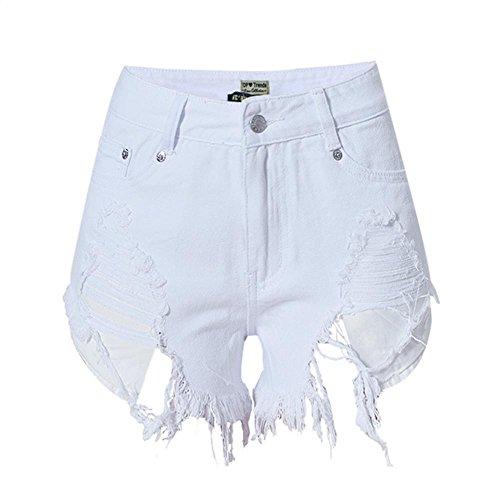 Byjia Frauen Normallack Hohe Taille Dünne Reizvolle Minikurzschluß Jeans Heiße Hosen Denim Nachtclub . White . 40