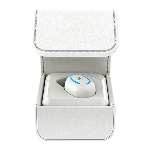 WANGLXBT Stereo Bluetooth Headset, Mini-Mono-Stereo-Sportkopfhörer mit Ladekiste, CVC 6.0-Geräuschunterdrückung und 20-Stunden-Wiedergabezeit Schließen Sie 2 Mobiltelefone Sport, White
