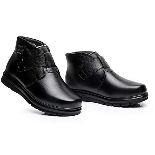 GONG MännerLeder Elektrische Heizung Schuhe, wiederaufladbare 5-Fach Temperatureinstellung Trocknen Schuhe im Winter Fußwärmer Deodorant und Sterilisation/Geeignet für Feldaktivitäten,Black,42yards