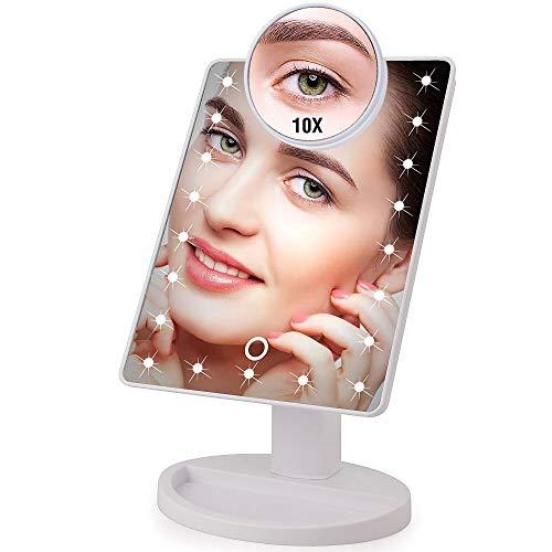 LED-Licht Touchscreen 1x 10x Lupe Schminkspiegel Desktop Arbeitsplatte Hell einstellbar USB-Kabel oder Batterie verwenden 16 Lampe