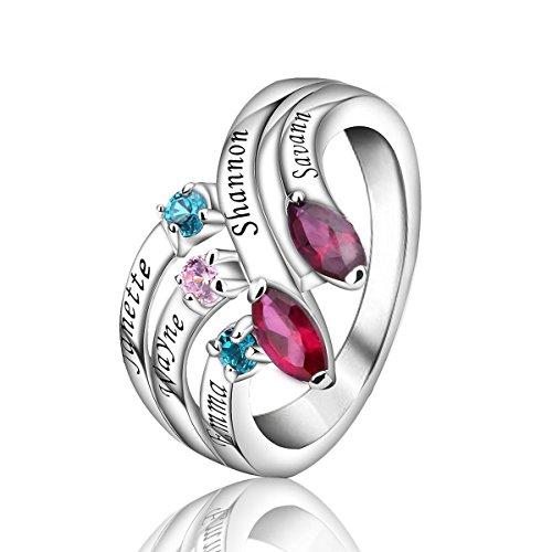 Quiges Damen Personalisiert Gravur Name Dreifach Stapel Ring 925 Sterling Silber Zirkonia Geburtsstein Ringgröße 62