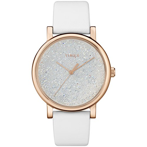 Timex Women's TW2R98100 Crystal Opulence Blue/Gold Leather Strap Watch (Gold Womens Timex Watch)