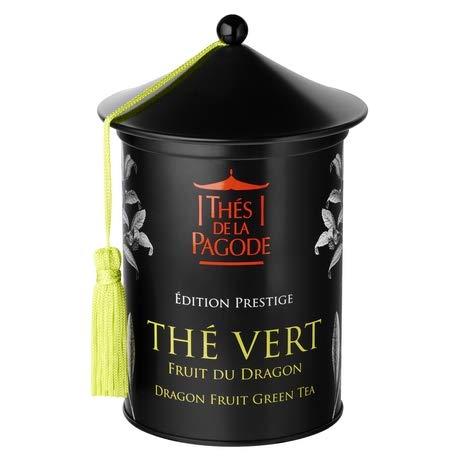 Drachenfrucht Grüner Tee von La Pagode Tee | Prestige Ausgabe - Schachtel mit 100 Gramm | Ein Gourmet- und exotischer Tee -