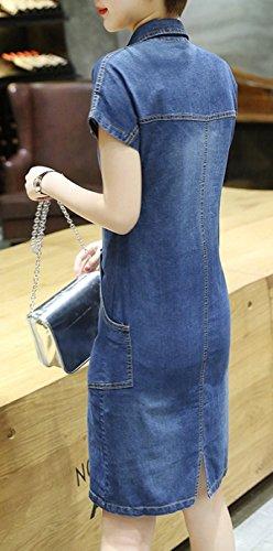 Blansdi Damen Sommer Basic Jeans Hemdkleid V-Ausschnitt Blusekleid Denim Shirt Kleid Party Dress Schlank Cocktail Minikleid Stil1-1