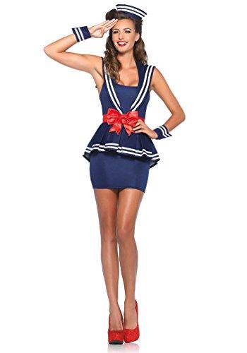 Karneval-Klamotten Sexy Matrosin Kostüm Damen Pin up 50er Jahre Marine Dame Karneval Fasching Damenkostüm Kleid inkl. Matrosenmütze Größe 42/44