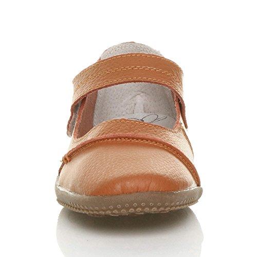 Damen Echtleder Breit Leder Ballerinas Geschlossene Slipper Arbeit Komfort Klettverschluss Schuhe Größe Dunkles Orange