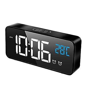MOSUO Digitaler Wecker, LED Digital Wecker Spiegel Tischuhr mit Sprachsteuerung & Temperatur Anzeige, Reisewecker Uhr…
