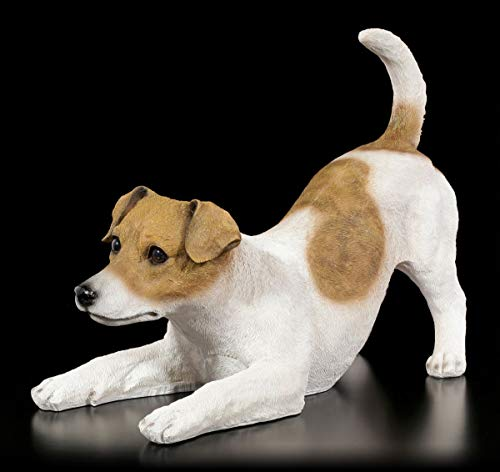 Figuren Shop GmbH Gartenfigur Hund - Verspielter Jack Russel | Dekofigur, Handbemalt