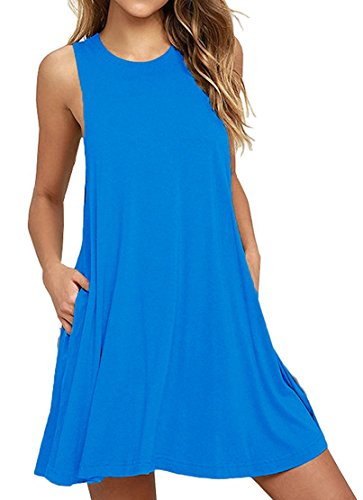 HAOMEILI Damen Langarm Stretch Casual Loose T-Shirt Kleid (XS(EU 34), SkyBlau) (Casual Kleid Damen)