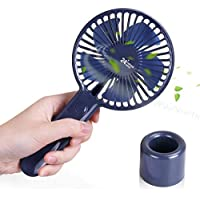 Mini Handheld Fan, USB Rechargeable Battery Operated Personal Portable Fan with Base for Travel, Home, Office, Outdoor Camping (Blue)