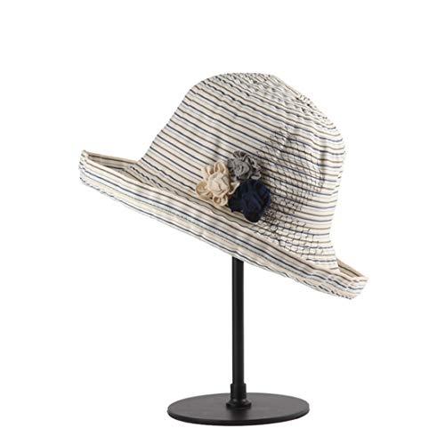 Babyksh Hut Lady Summer Big Brim Schatten Strohhut kann gefaltet Werden Outdoor Ribbon Hut kann verstellbar Sein Kopf Hut Panama Roll-up Hut Fedora Beach Sonnenhut UPF50 + (Farbe : Grau) -