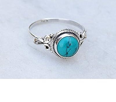 Bague en argent turquoise avec bijoux faits à la main en argent sterling 925 taille 44 à 68 FR
