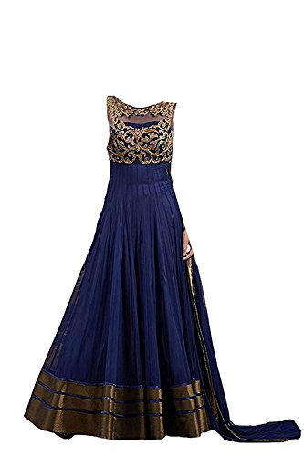 20b666df90b5 MAHAVIR FASHION s New Girls Copper Blue Soft Net Semi-stitched Long ...
