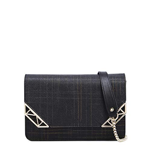 Kleine quadratische Tasche weiblich, Mini Schulter Kette Tasche schwarz 20 * 14 * 4 cm