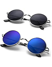 Dervin Plastic Polycarbonate UV Protection Round Men's and Women's Sunglasses (53, Blue) -Combo of 2