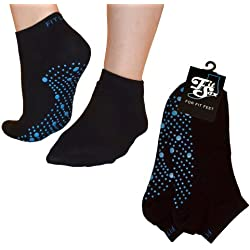 Pilates, Yoga, Artes Marciales, Fitness, Danza. Antideslizante/Antideslizante, Falls Prevención Calcetines Grip, Medias (Negro/Azul) Grip Socks