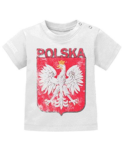 Jayess WM 2018 - Polska Polen Vintage - Baby T-Shirt in Weiss by Gr. 80/86 - Meisterschaft Vintage-t-shirt