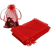 Red Organza Favour Bags 100pcs, 10 x 15cm Organza Gift Pouches Jewellery Drawstring Bags for Holiday Party Favor
