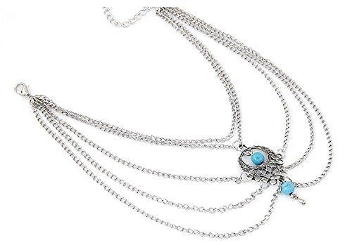 Orientalische Vintage Armkette Oberarmkette Festival Arm Oberarm Boho Schmuck in Silber-Optik mit Amulett Sonne und türkisen Perlen von DesiDo®
