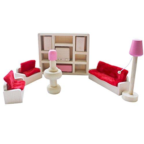 iEFiEL Puppenhaus Möbel Zubehör Holzspielzeug Einrichtung Kleinkind Spielwaren (11tlg Wohnzimmer Set)