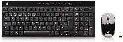 V7 CK2P0-7E5P - Pack de teclado y ratón (Inalámbrico), Negro