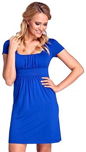 Glamour Empire. Femme. Robe plissée profond décolleté carré S-4XL. 081 Bleu Royal