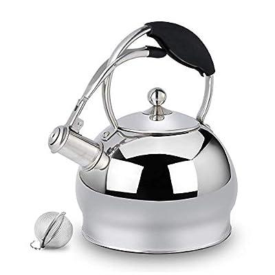 Suteas Best Whistling Tea Kettle Cuisinière À Thé Top en Acier Inoxydable Théière 3L Couleur Argent