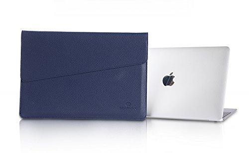 Macbook15.4 Zoll Laptop Case, TechCode Luxus Mikrofaser Leder Laptop Tasche Eine Hohe Qualität und Geringes Gewicht Case für das Neues Apple Macbook 15 - 15.4 Zoll (15-15.4 zoll, Rosa) Dunkelblau
