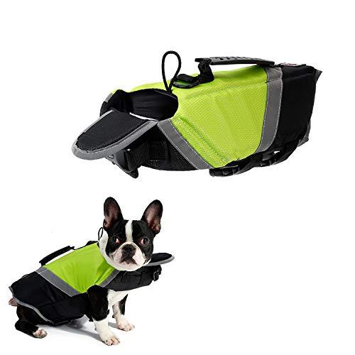 Tineer Dog Schwimmweste mit extra Polsterung Saver Safety Reflective Badeanzug Erhalter für kleine mittelgroße Hunde Sicherheit am Pool, Strand, Bootfahren (S, Grün)
