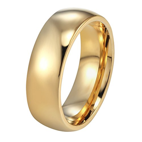 PROSTEEL Edelstahl Herren Ring, Hochglanzpoliert 6mm Breite Ring Klassischer Ehering Verlobungsring für Männer, Gold, Ringgrößen 59(18.8)