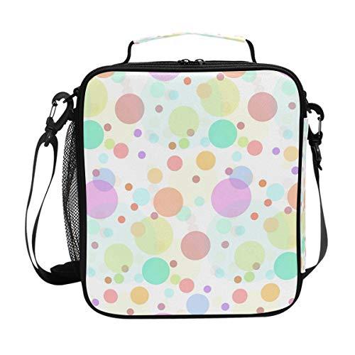 Orediy Isolierte Kühltasche Lunchtasche mit farbigen Kreisen, Punkten, für Kinder, Studenten, Lunch-Set für Reisen, Picknick, Schule, Büro
