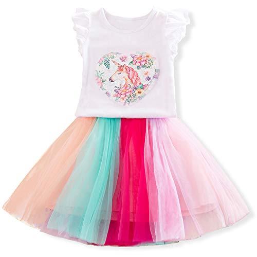 TTYAOVO 2 Stück Einhorn-Outfits,Ärmelloses Oberteil für Mädchen mit Geschichteten Regenbogen-Tutu-Röcken Größe: 3-4 Jahre