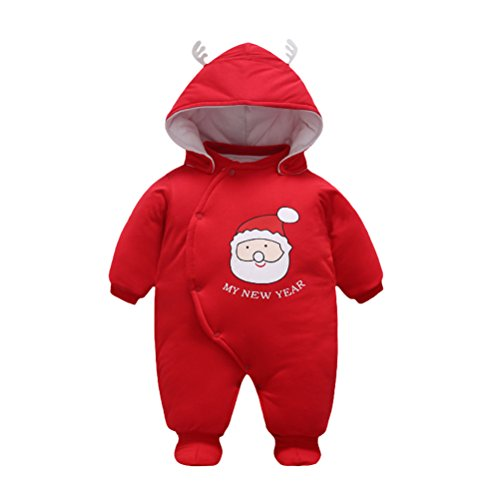 aby Boy Girl Infant Cute Santa Claus Long Sleeve Hooded Romper Jumpsuit Overalls Bodysuit Outfit Autumn Winter Cotton Clothes (Santa Girl-outfits)