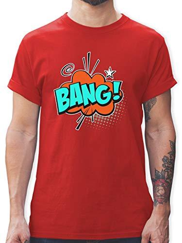 Karneval & Fasching - Popart Karneval Kostüm BANG! - XXL - Rot - L190 - Herren T-Shirt und Männer Tshirt (Pop Art Comic Mann Kostüm)