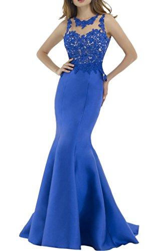 Victory Bridal Royal Blau Spitze Satin Abendkleider Partykleider Promkleider Schmaler Schnitt Figurbetont Lang Royal Blau
