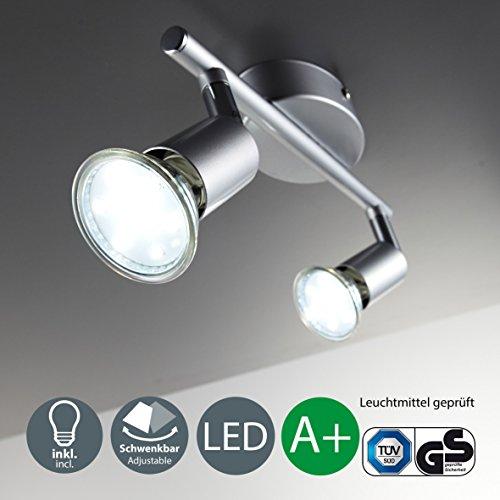 B.K. Licht plafonnier 2 spots LED orientables, spots plafond orientables, ampoules LED GU10 2X3W fournies, éclairage plafond LED cuisine chambre salon, blanc chaud, 230V, IP20