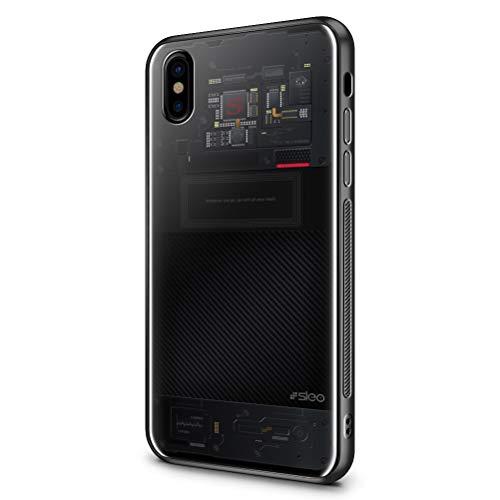 SLEO Custodia per iPhone XS/iPhone X, Cover per iPhone XS/iPhone X Coperchio Posteriore in Vetro Temperato[TPU + Vetro Temperato] Guscio di Protezione del Telefono - Schema del circuito