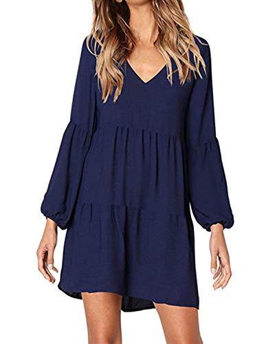 kenoce Damen Kleid Langarm V-Ausschnitt A-Linie Kurze Mini Kleider Lose Swing T-Shirt Kleid Blusen Tunika Marine S - Kleid Rüschen Rock